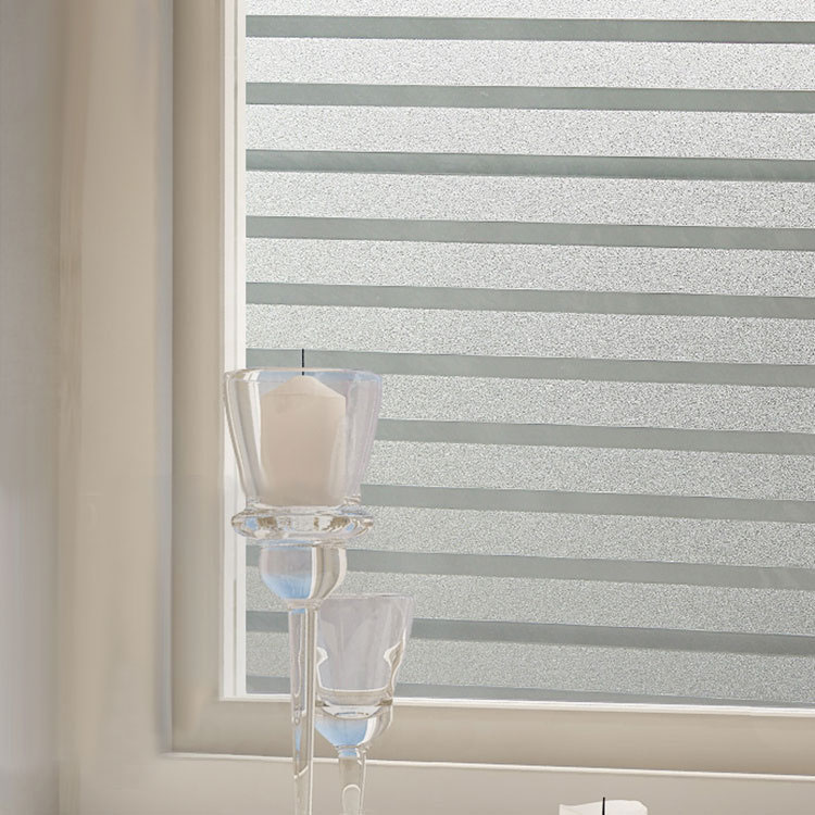 KCASA S151 45cmX200cm Modern Stripe Pattern Glass Stickers Bathroom Balcony Sliding Door Frosted Glass 3D Stickers
