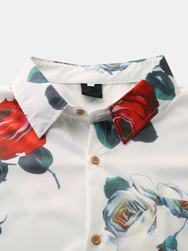 Mens Fashion Rose Printing Breathable Shirts