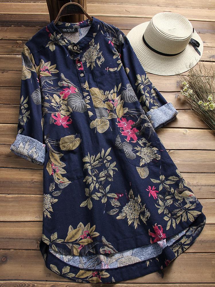 Women Retro Buttons Long Sleeve Cotton Vintage Floral Blouse