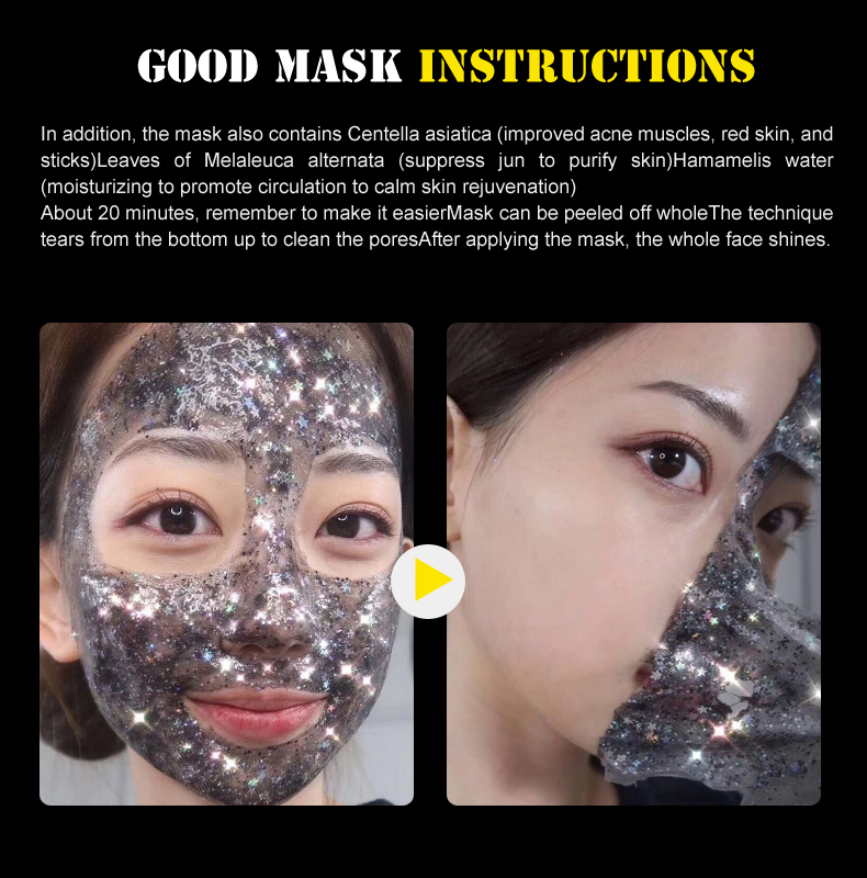 Water Ice Levin Glitter Star Mask Bling Facial Peel-off Mask