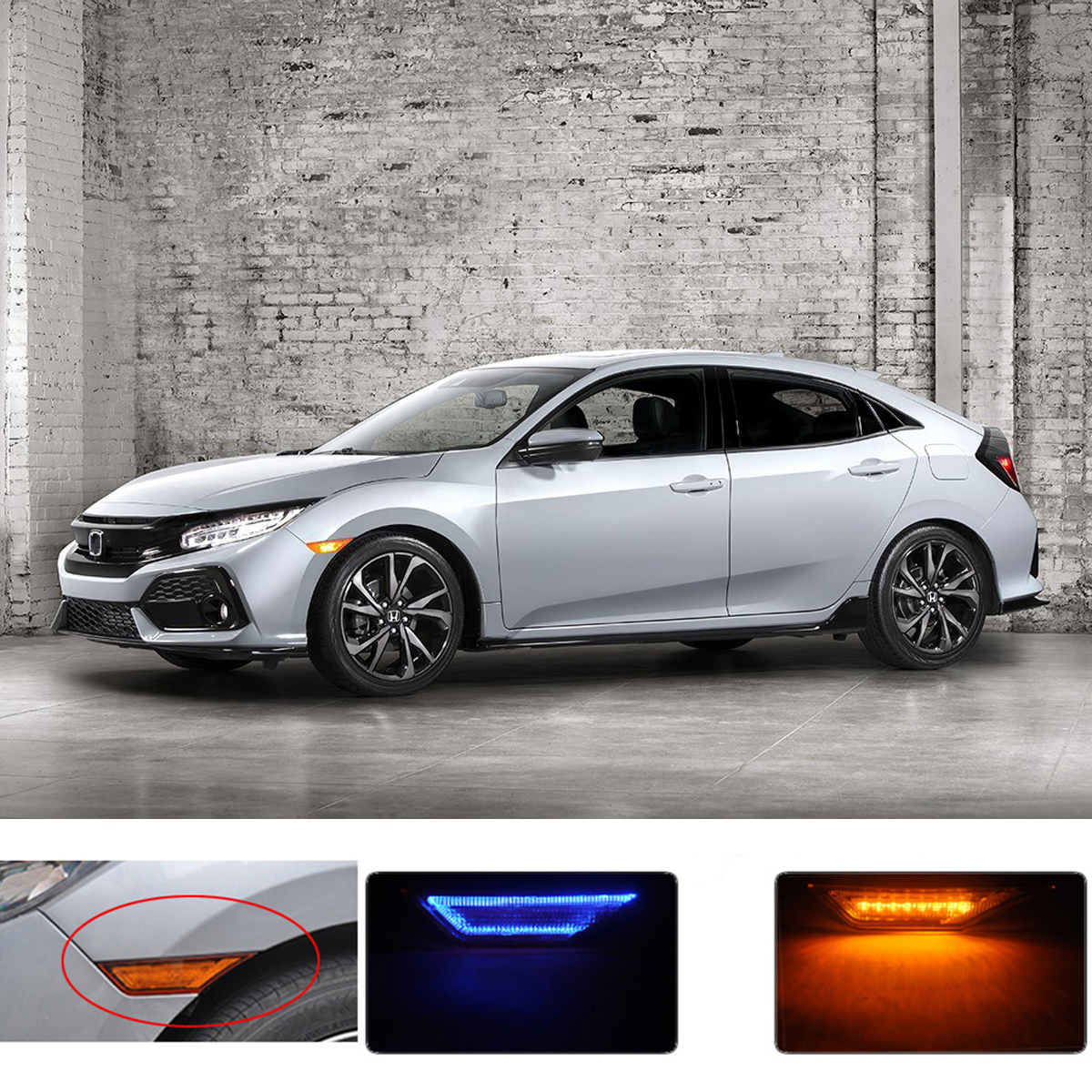 Pair Dual-color Amber+Blue LED Car Side Marker Lights Turn Lights for Honda Civic 2016-2018