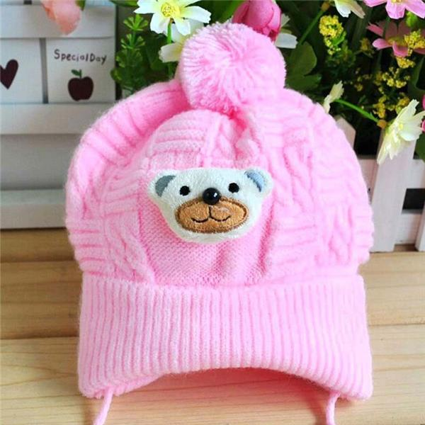 Newborn Baby Boy Girl Braided Knitted Infant Toddler Soft Crochet Bear Hat Beanie Warm Caps