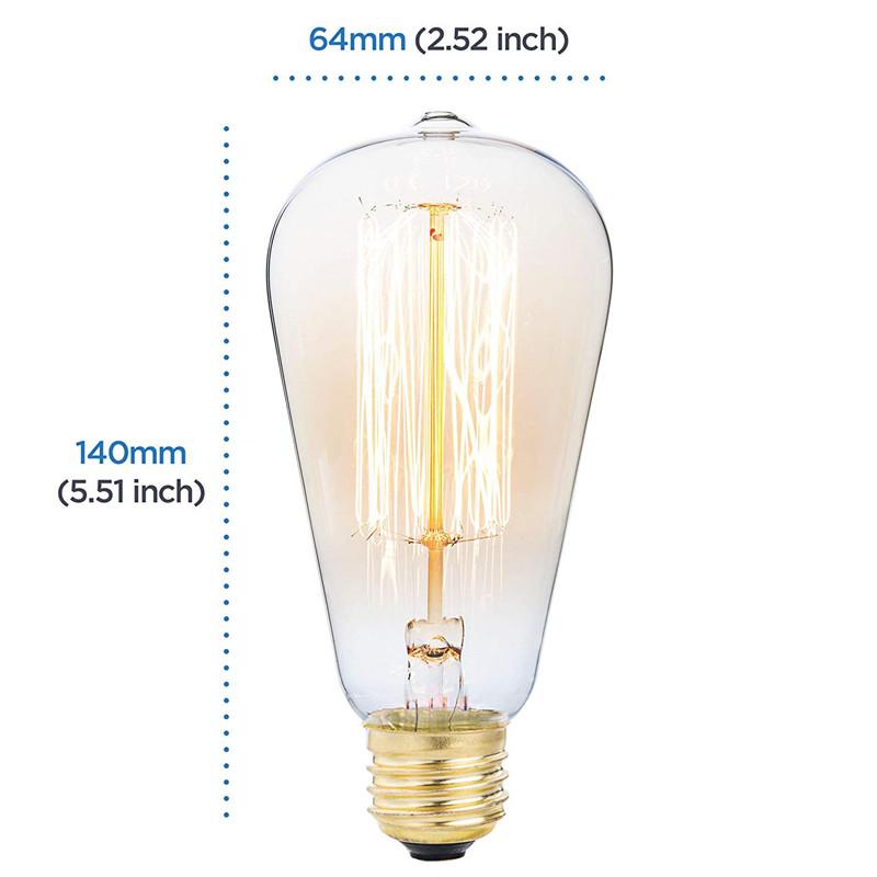 6PCS ST64 40W E27 Dimmable Edison Antique Vintage Filament Incandescent Light Bulb AC220V