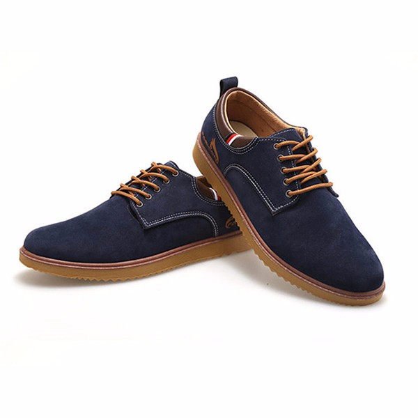 Men Suede Shoes Lace Up Round Toe Casual Outdoor Fashion Oxfords