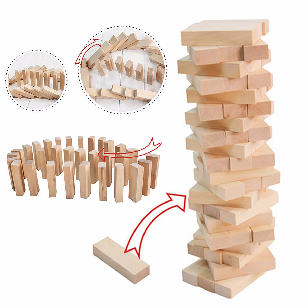 Wooden Stacking Tumbling Tower Fun 57 Blocks Board Game Kids Family Toy