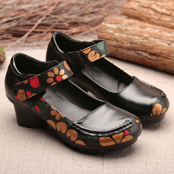 SOCOFY Printing Hook Loop Mid Heel Round Toe Retro Casual Shoes