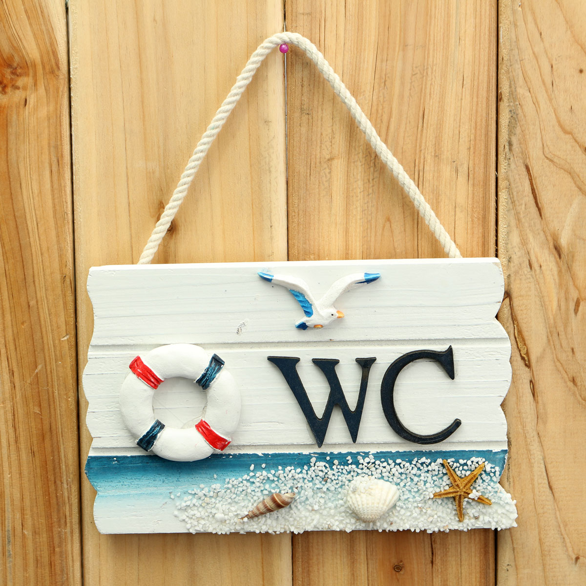 17.5cm Mediterranean Style Decor WC Toilet Wooden Door Wall Sign Hanging Ornaments