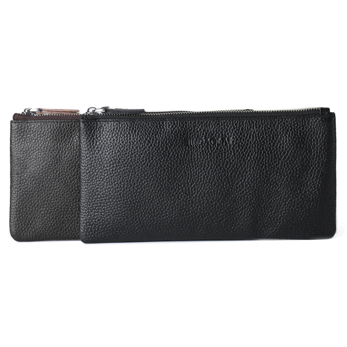 Multifunctional Men Vintage Cow Leather Long Phone Bag Card Cash Case Holder Zipper Wallet Purse