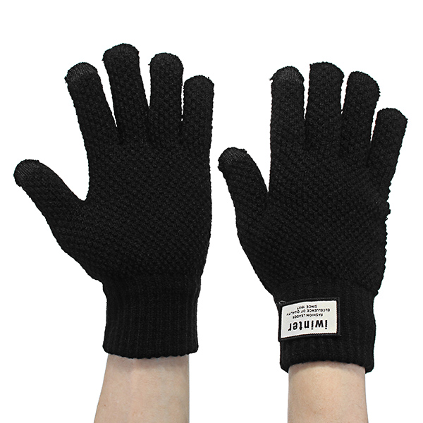 Touch Screen Knitted Gloves Thickening Warm Winter For Bike Motorcycle Cycling Skiing Skateboard Men