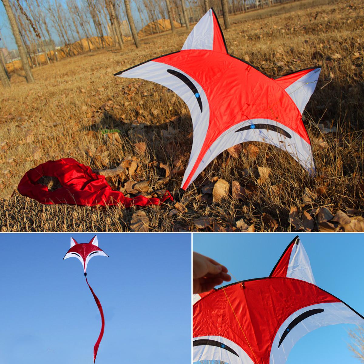95 cm x 80 cm Outdoor Sport Red Fox Fliegen Kite Schwanz Spielzeug Kinder Kinder Spiel Aktivität