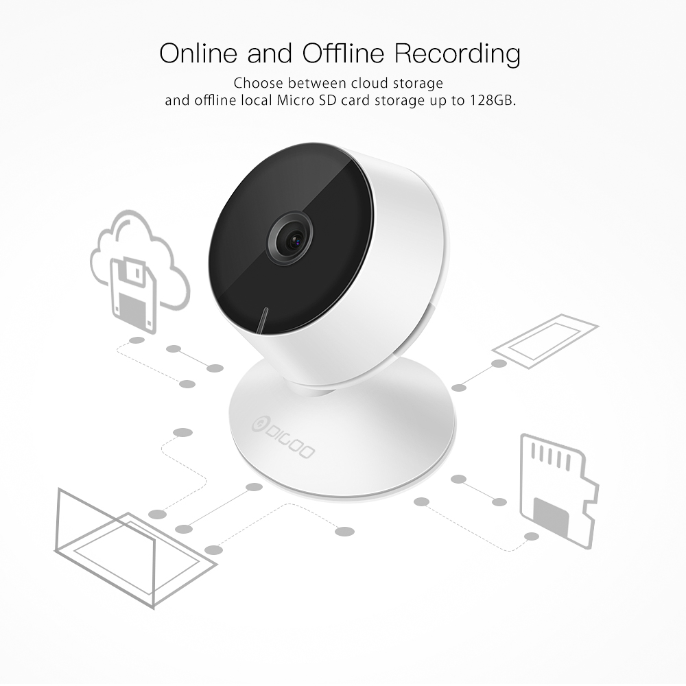 Digoo DG-Mini8 HD 2.4G 720P 1080P Wireless WIFI Indoor Security Ip Camera Night Vision Moving Detection Two-Way Audio Webcam Baby Monitor