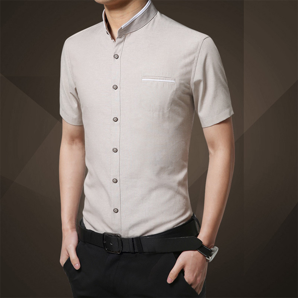 Mens Fashion Slim Solid Color Summer Stand Collar Big Plus Size Short Sleeve Business Dress Shirt