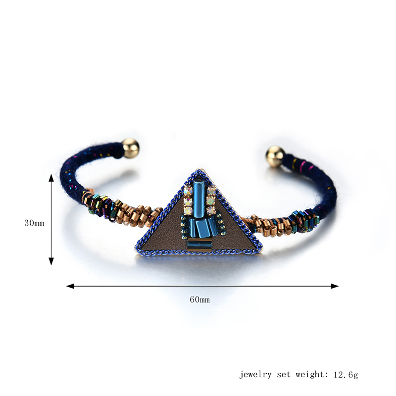 Bohemian Women Bracelet Punk Blue Bead Inlay Leather Triangle Charm Gold Plated Woven Boho Bangle