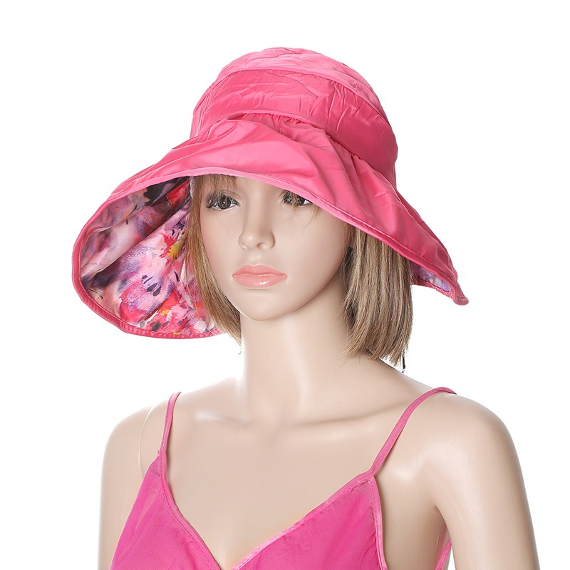 Women Summer Sun Protective Foldable Hat Anti-UV Wide Brim Outdoor Gardening Visor Cap
