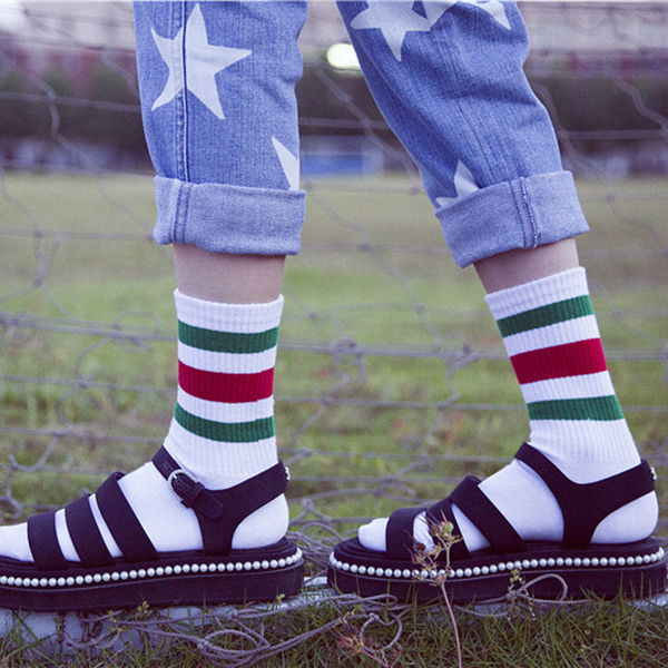 Women Autumn Warm Striped Cotton Middle Tube Socks Casual Sports Breathable Socks
