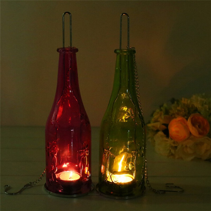 Beer Bottle Hanging Glass Candle Stick Candle Holder Candle Light Candelabra Romantic Wedding Decor