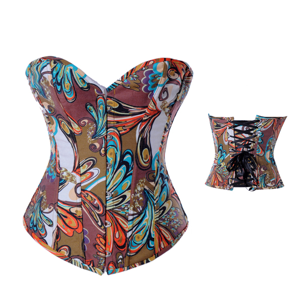 Fashion Women Colorful Satin Printing Overbust Bustier Corset