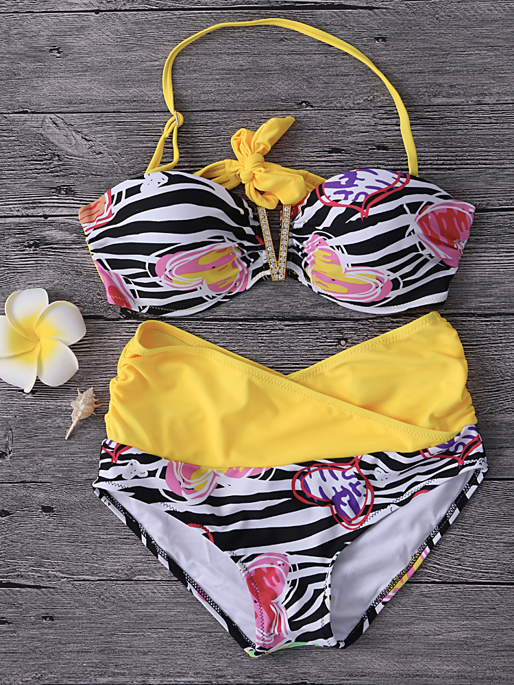 Sexy Halter Backless Flower Love Striped Printed Wireless High Waist Bikini Sets