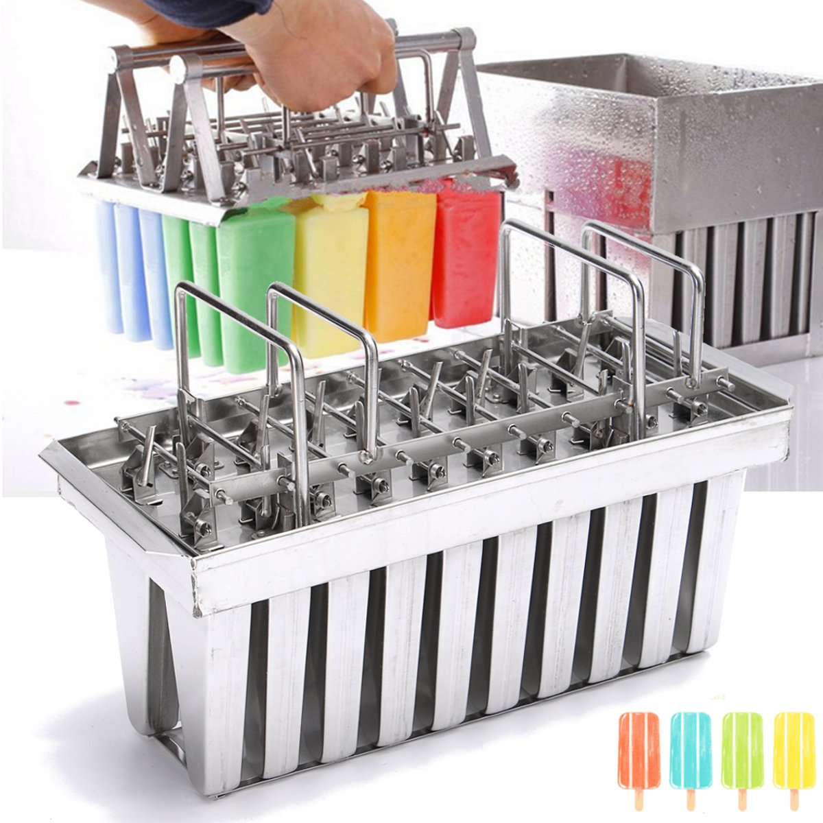V-type Stainless Steel Mould 20 Cavity 83g Ice Pop Maker Mold DIY Ice Cream Lolly Popsicle Stick