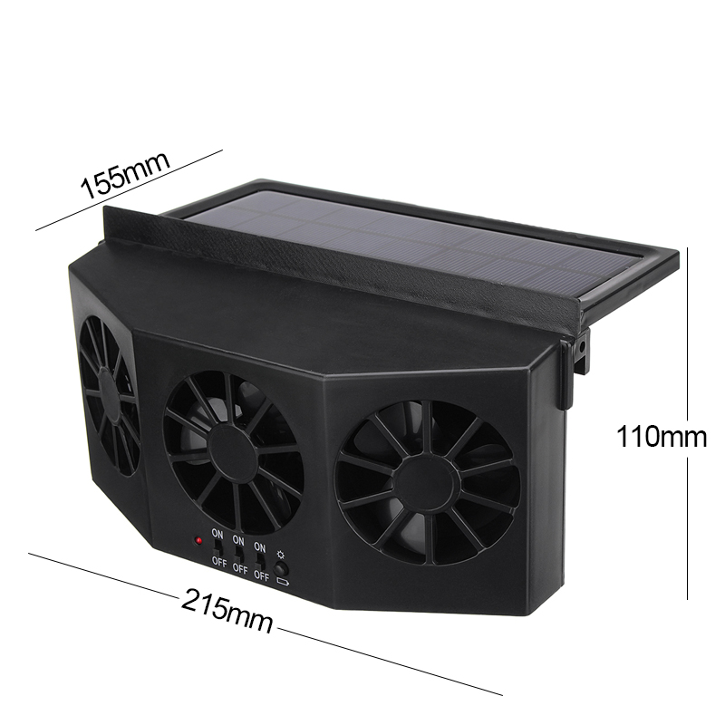 Car Window Air Vent Cool Ventilation System Triple Fan Cooler ABS Solar Powered