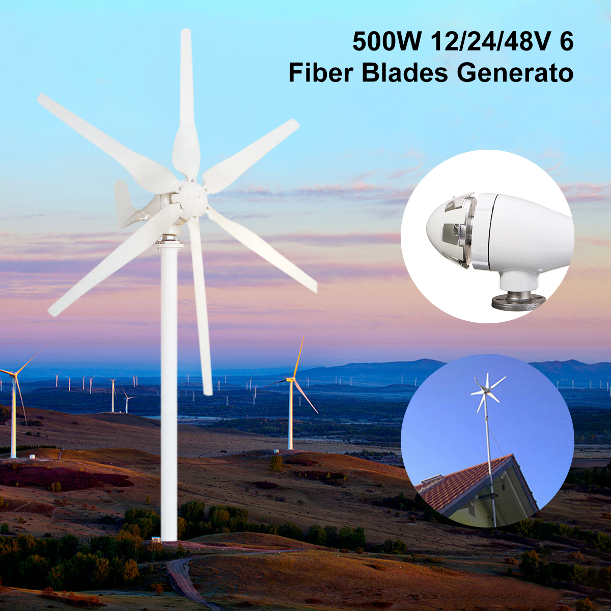 500W 12V/24V/48V 6 Blades Small Horizontal Wind Turbine Wind Generator Kit