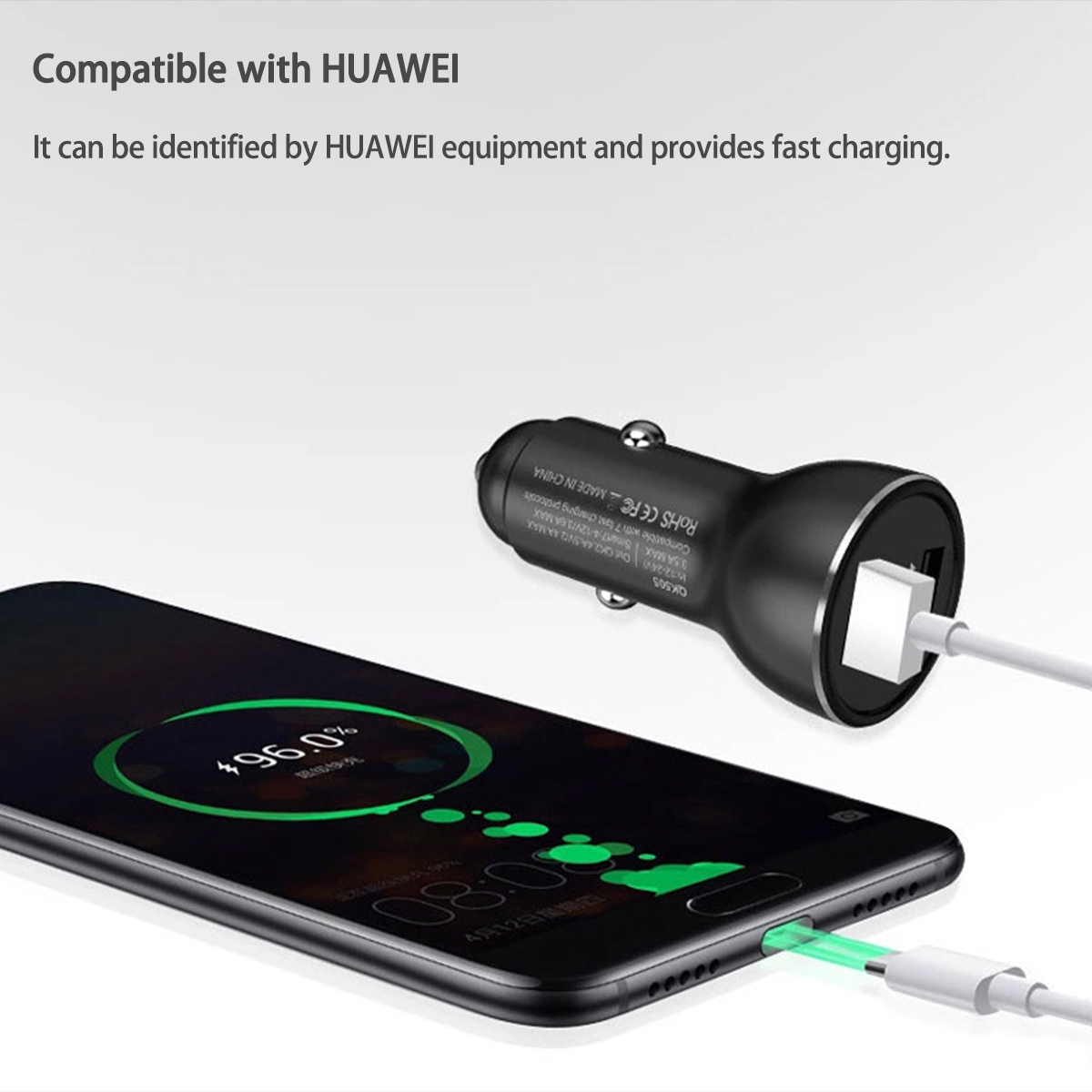 SuperCharge Fast Dual USB Car Charger For Huawei P20 P20 Pro Mate10 for iPhone 8 x