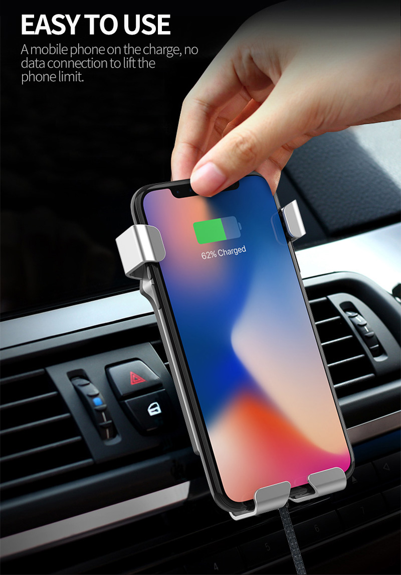 Bakeey 10W Fast Wireless Car Charger Polo Shirt Metal Gravity Bracket Phone Holder Stand for iPhone