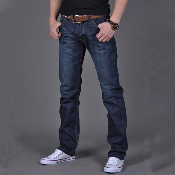Mens Slim Fit Dark Blue Jeans Straight Leg Trousers Spring Autumn Denim Pants