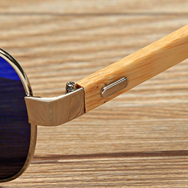 UV400 Bamboo Legs Men Women Sunglasses Metal Frames Outdoor Colorful Glasses Goggle