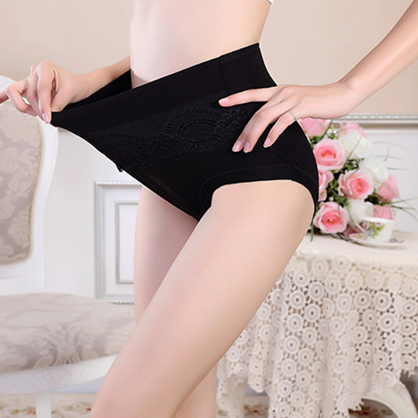 3XL Women Seamless Lace Embroidery Modal Mid Rise Large Size Briefs Underwear