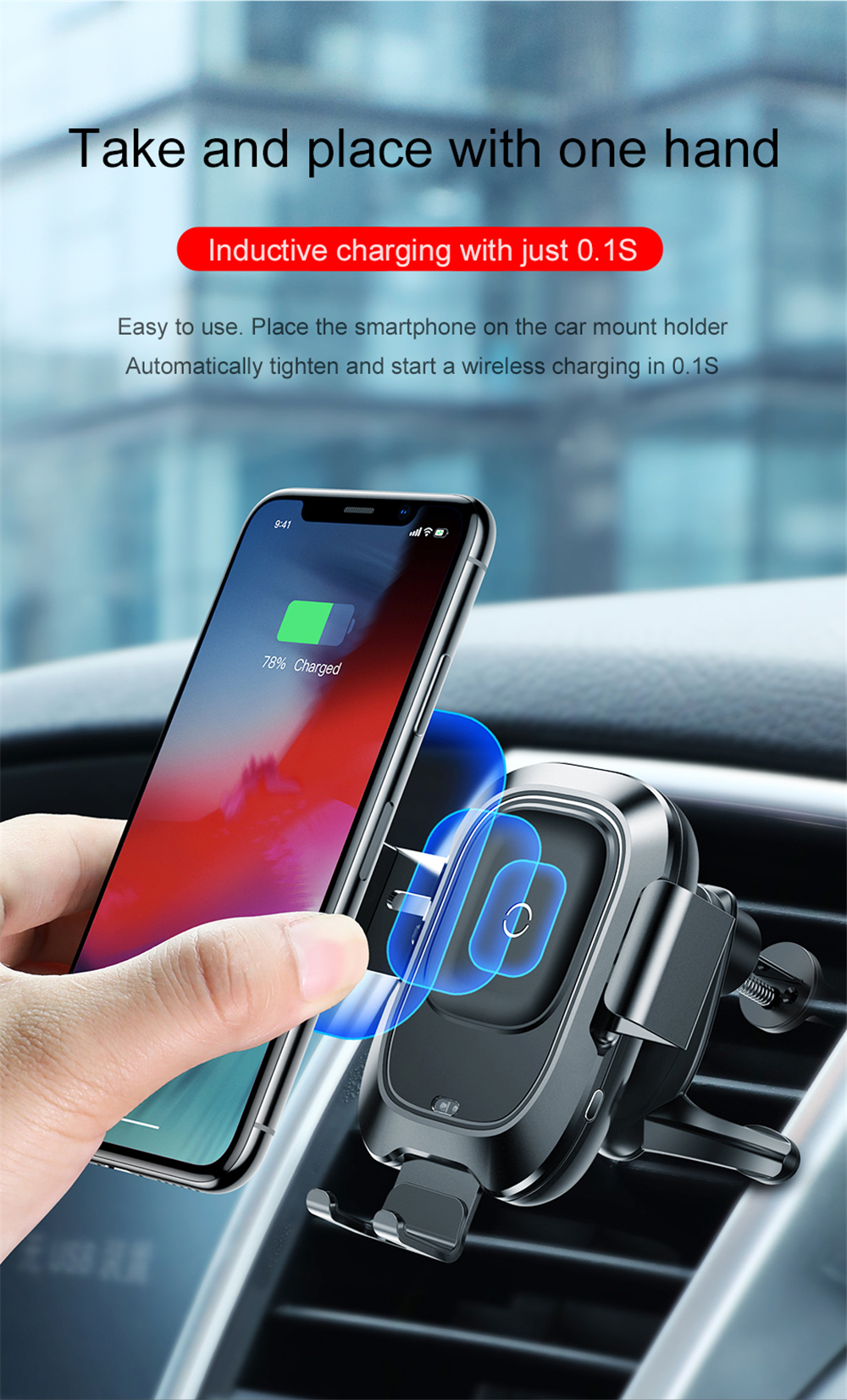 Baseus Infrared Sensing Car Phone Holder for iPhone XS XR QI Wireless Charger Air Vent Bracket