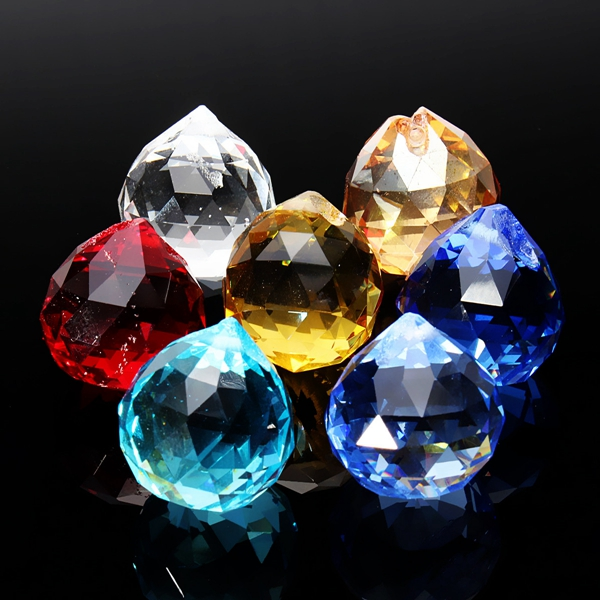 20mm 8 Crystal Glass Chandelier Light Ball Prisms Suncatcher Drops Pendants Set