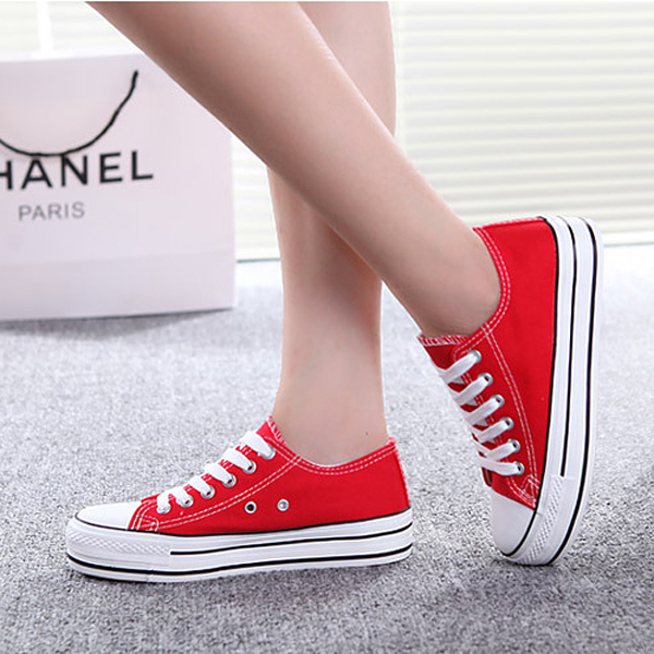Women Chic Canvas Candy Color Shoes Lace Up Platform Casual Shoes
