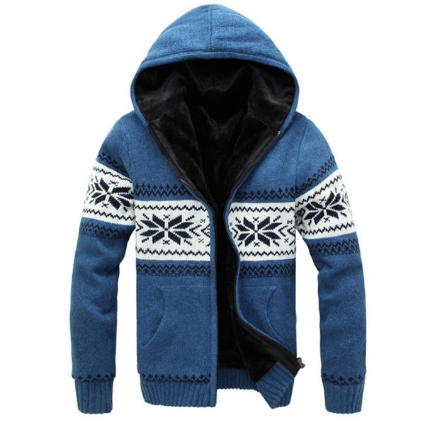 Mens Plus Thick Warm Hooded Zipper Sweater Cardigan Coat