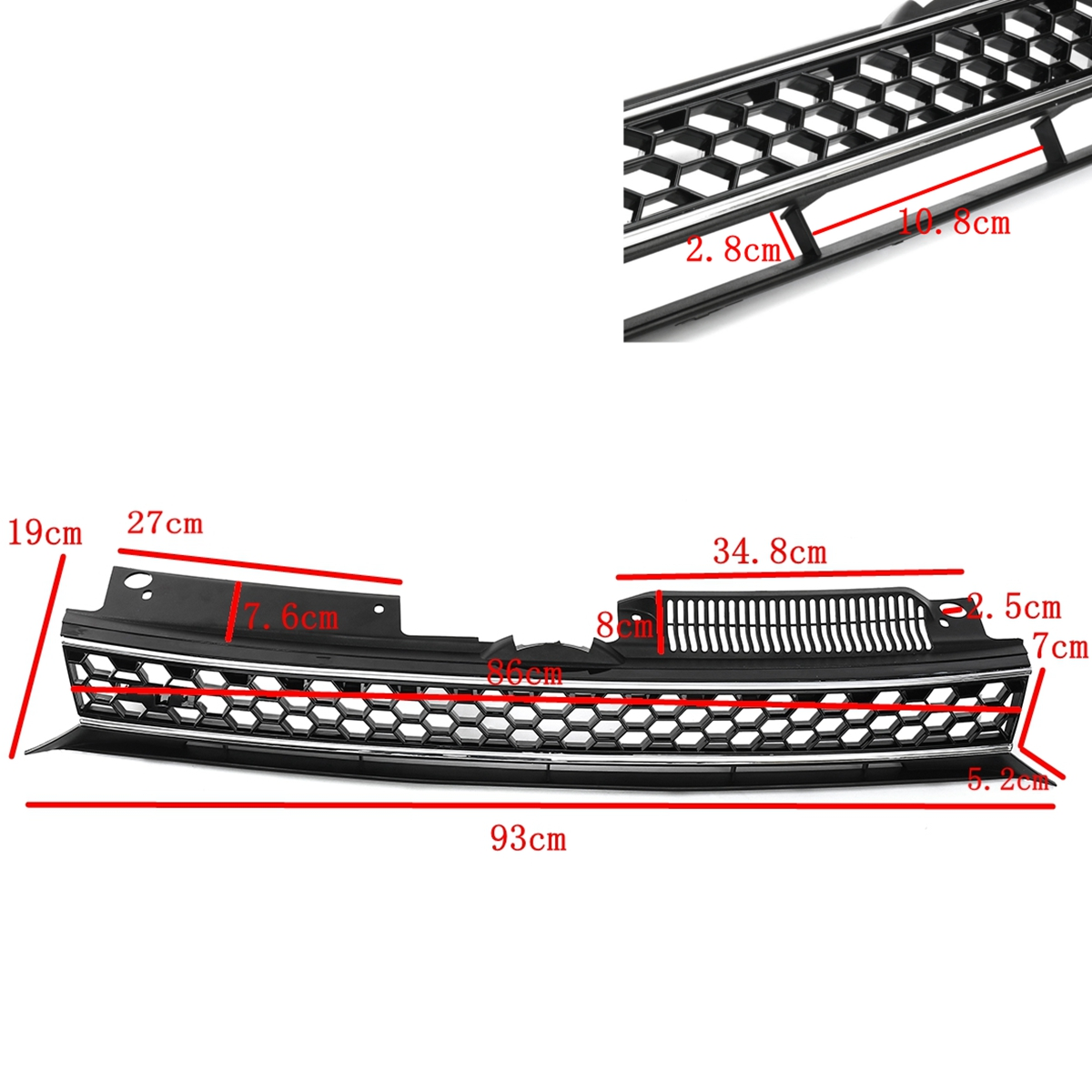 Car Front Bumper Black Mesh Grille With Chrome Trim For VW Jetta GTI Golf MK6 10-14