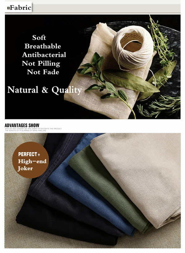 Linen Solid Color Casual Soft Men Long Trousers Flax Leisure Pants