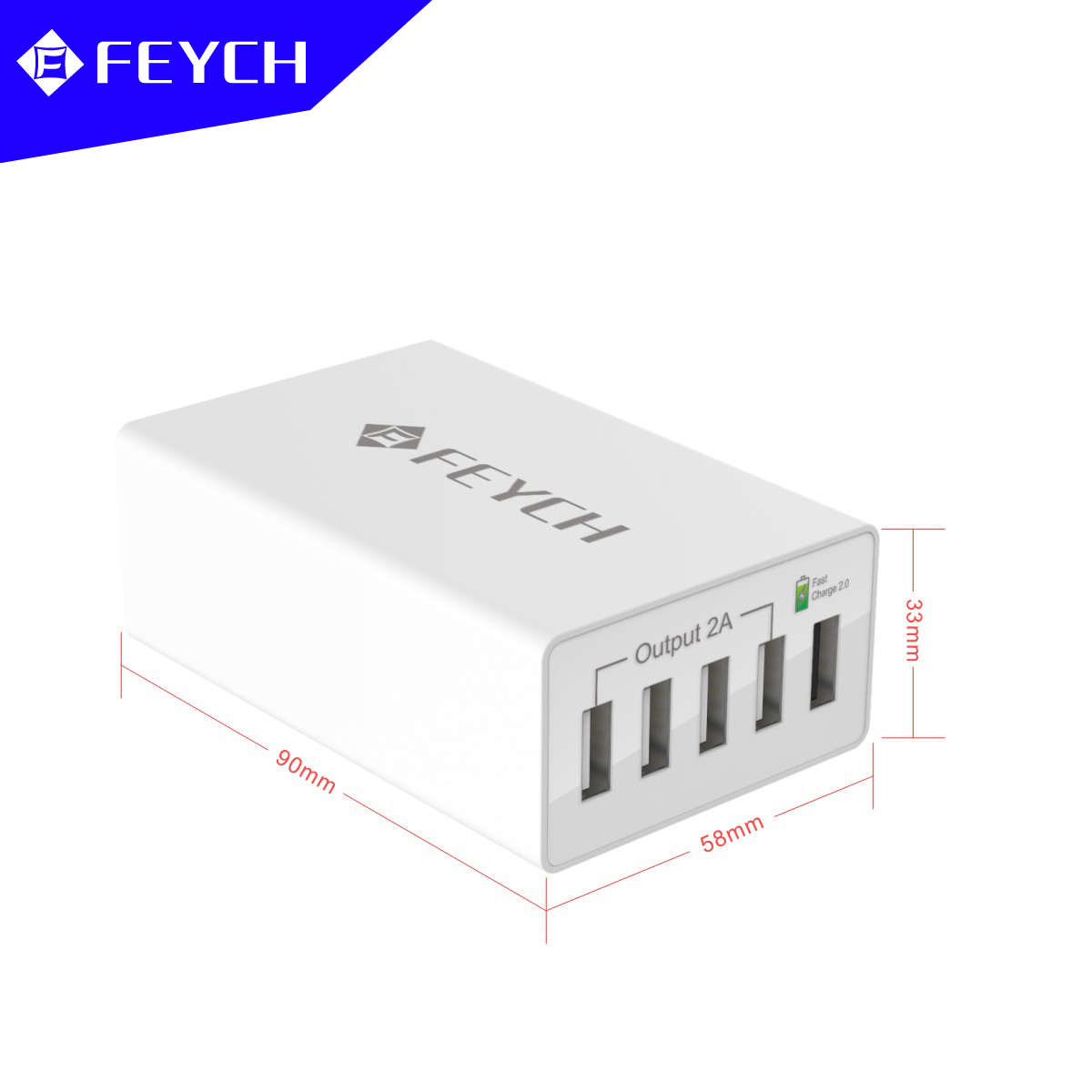 FEYCH QC2.0 50W 10A 5 USB Ports Quick Charger US Desktop Charger For Cell Phone Tablet Camera