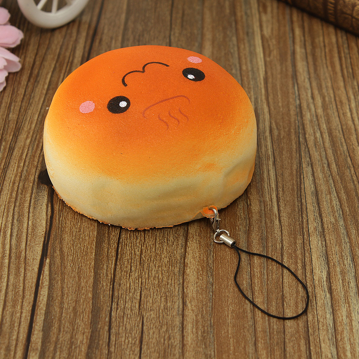 10CM Cute Smiling Expression Kawaii Squishy Bread Keychain Bag Phone Charm Strap
