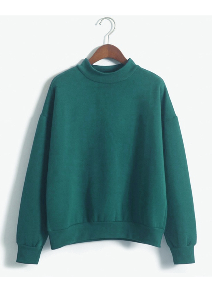 Casual Candy Color Long Sleeve Thick Velvet Loose Women Pullover Sweatshirt