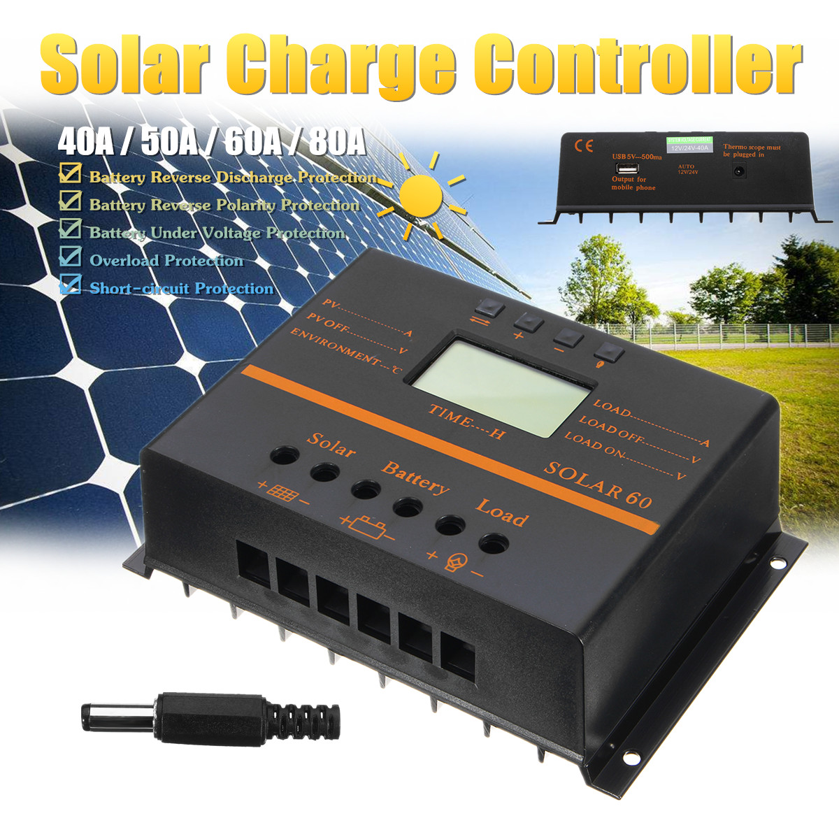12V/24V 40A/50A/60A/80A PWM Solar Controller LCD Function 5V DC Solar Panel Battery Charge Regulator