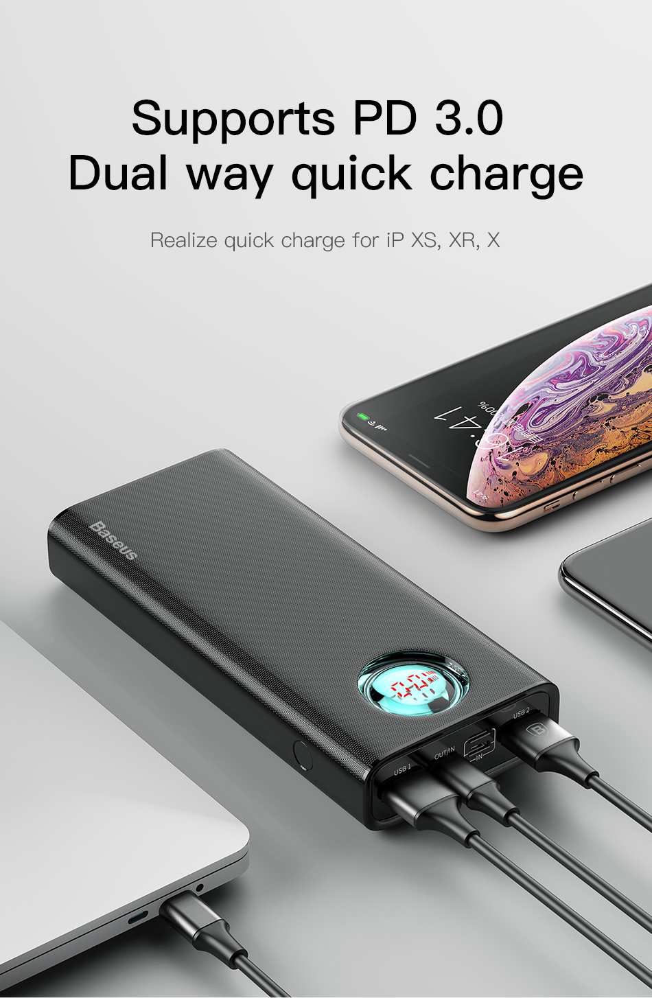 Baseus 20000mAh Type C PD Fast Charging + Quick Charge 3.0 USB Power Bank for Mobile Phone