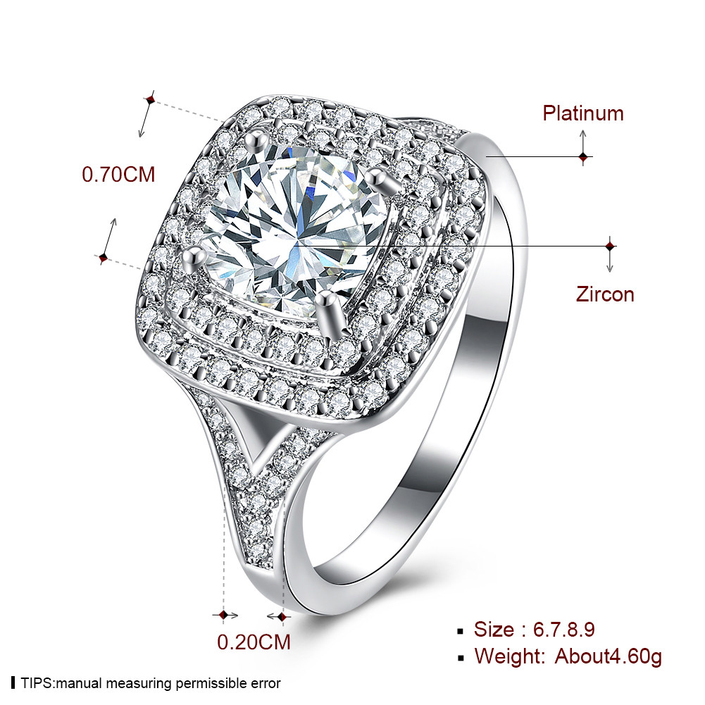 INALIS Zircon Platinum Anniversary Gift Wedding Finger Rings