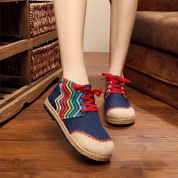 Color Matching Lace Up Round Toe Casual Ankle Short Boots For Women