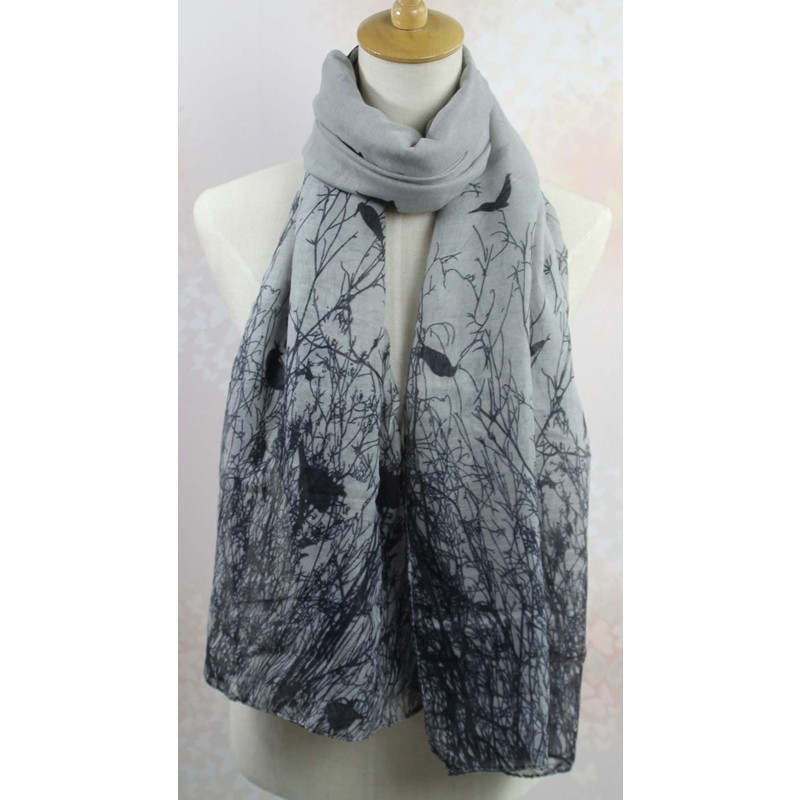 Women Voile Ink Bird Print Floral Scarf Long Wrap Shawl Stole Scarves