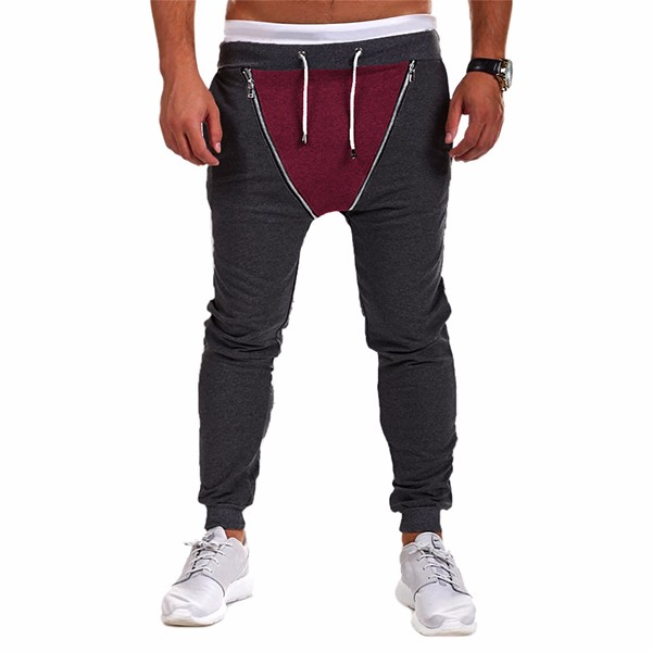 Mens Double Zipper Spell Color Sports Pants Mid Waist Gym Joggers Pants