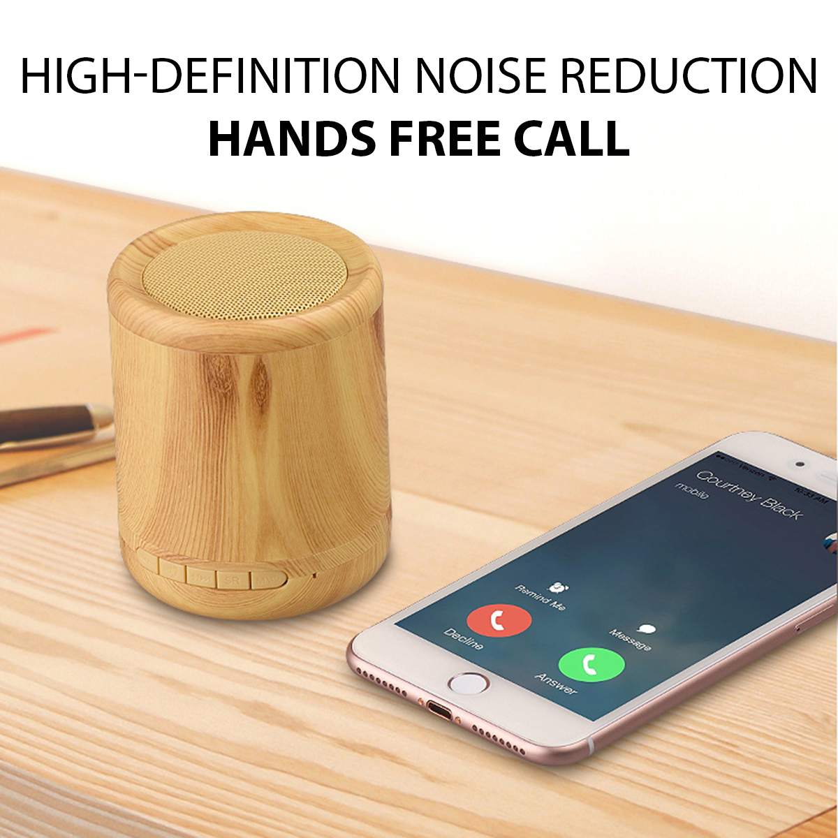 Mini Portable Wireless Bluetooth Speaker Wooden 3D Stereo TF Card Hands Free Aux-in Subwoofer 36