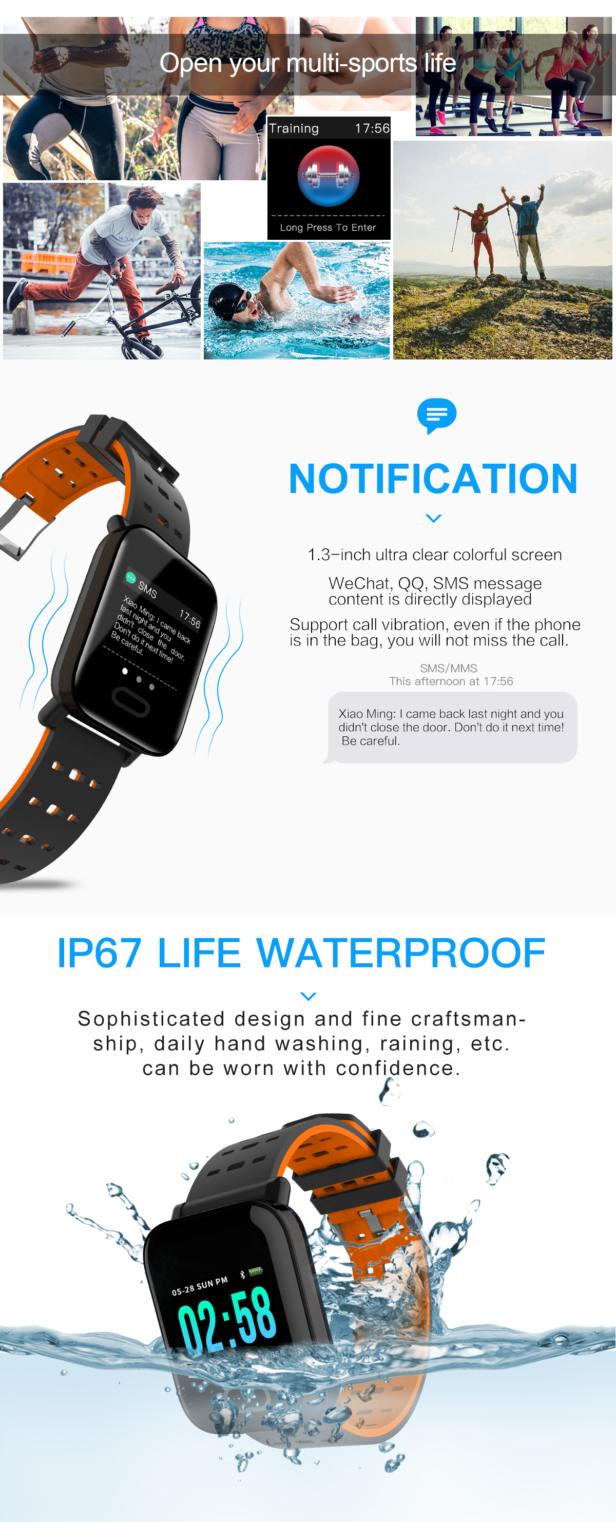 Bakeey M20 1.3' Big Screen Real Time HR Blood Oxygen Pressure Monitor Long Standby Sport Smart Watch 25