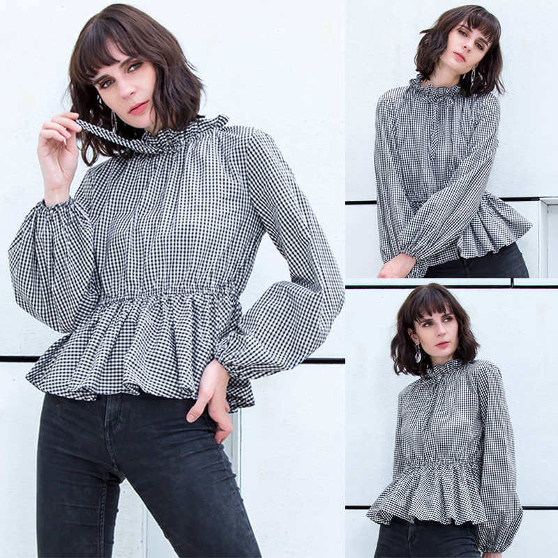 S-5XL Elegant Women Casual Plaid Blouse