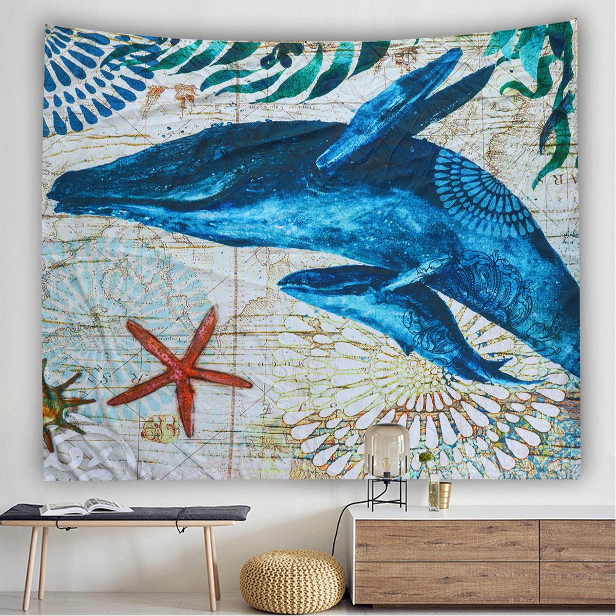 Marine Animal Nordic Style Tapestry Wall Hanging Beach Towel Art Carpet Decorative Tapestry