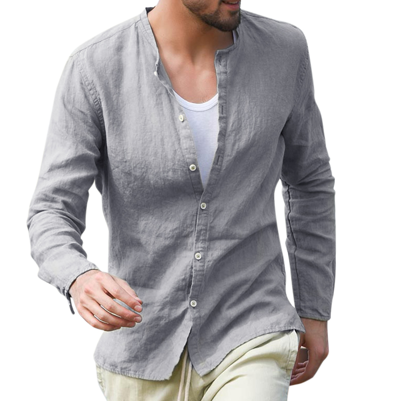 TWO-SIDED Mens Solid Color Cotton Stand Collar Loose Shirts